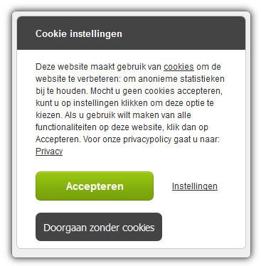 """e06d8312ca31eb De bezoeker kan een keuze maken op 3 soorten cookie niveaus door op de link  """"Instellingen te klikken"""". De cookie popup levert en plaatst Refresh Media."""